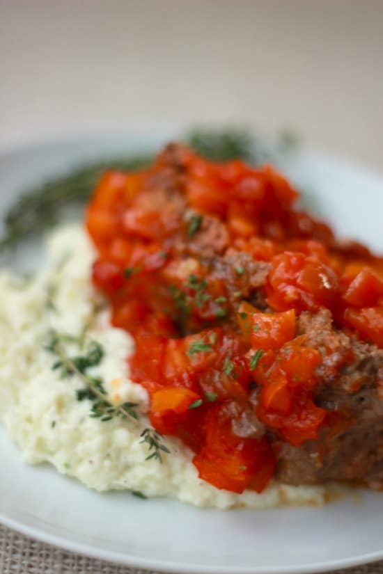 """Meatloaf with Bell Pepper Relish and Garlic & Herb Cauliflower Mashed """"Potatoes"""""""