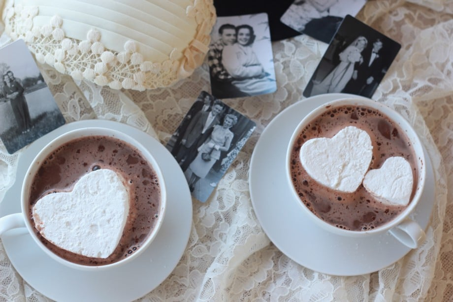 Heart shaped marshmallows in cup of hot chocolate