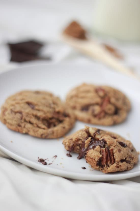 Dark Chocolate and Toasted Pecan Cookies w/Browned Butter (gluten-free)