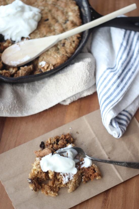 Maple Oatmeal Raisin Skillet Cookie with Greek Yogurt