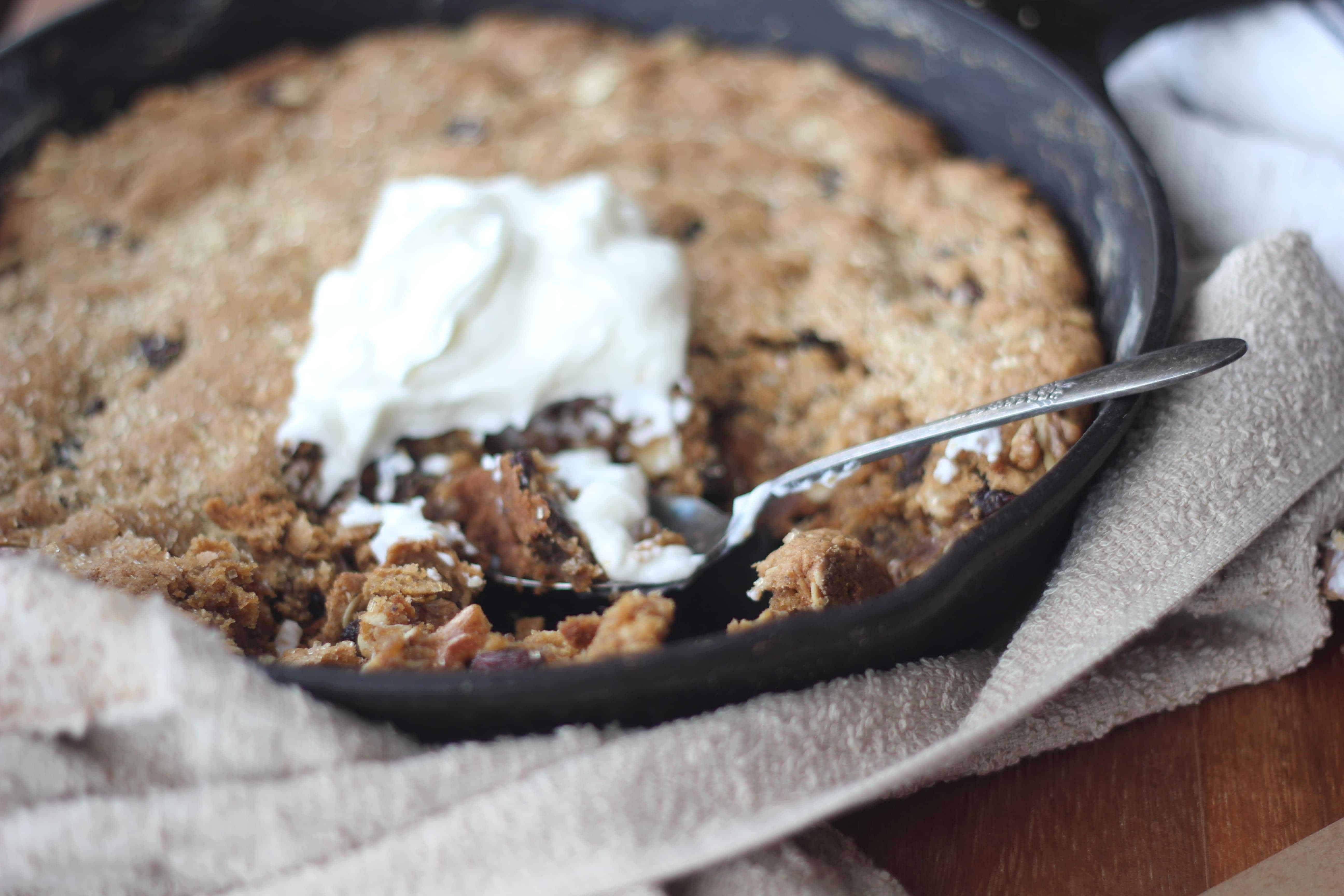 One Pan Breakfast: Maple Oatmeal Raisin Skillet Cookie - Baker Bettie