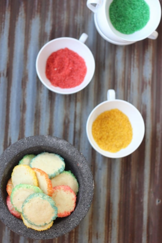 Kaleidoscope Shortbread Cookies and Homemade Colored Sanding Sugar