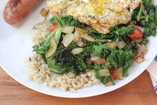 Kale Tomato and Onion Cauliflower Hash