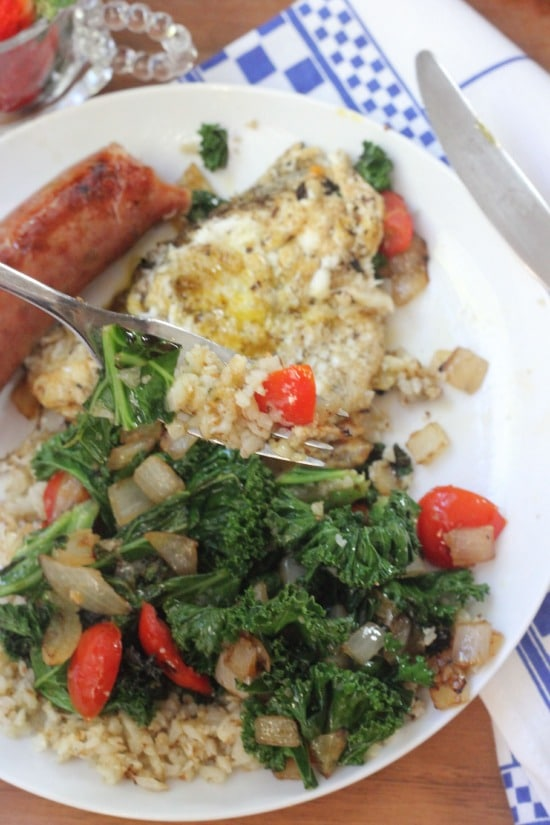 Kale Tomato and Onion Cauliflower Hash