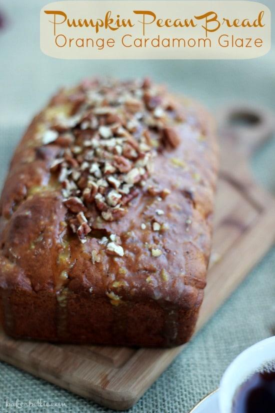 Pumpkin Pecan Bread with Orange Cardamom Glaze (vegan)