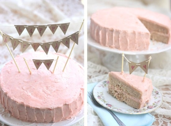 Strawberry Birthday Cake (vegan)