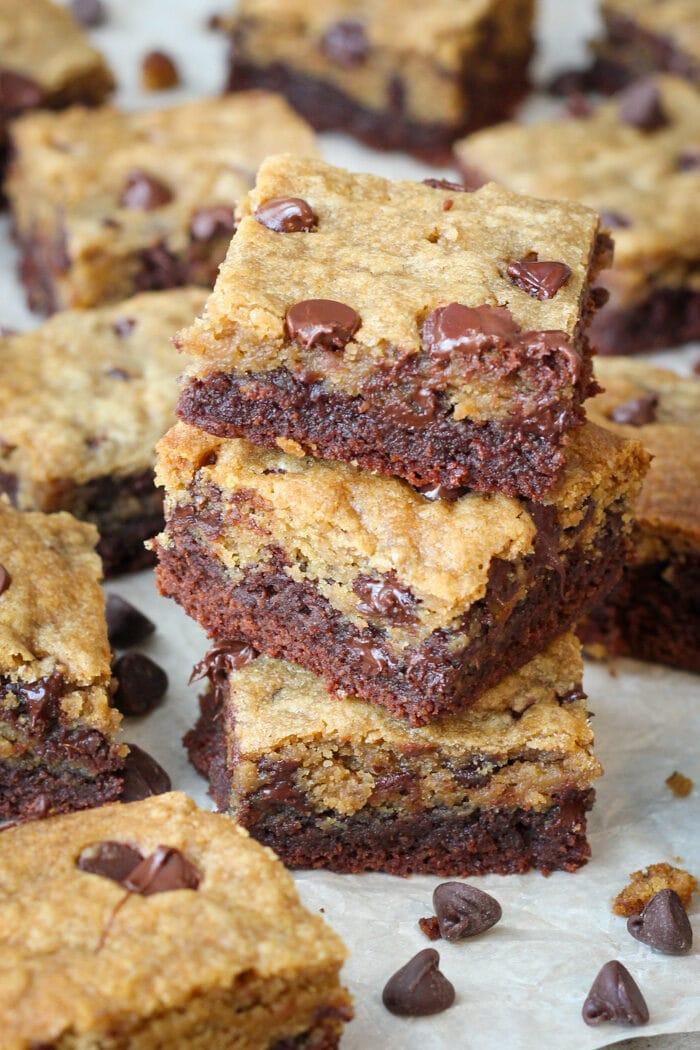 Brookies (brownie chocolate chip cookies) sliced and stacked