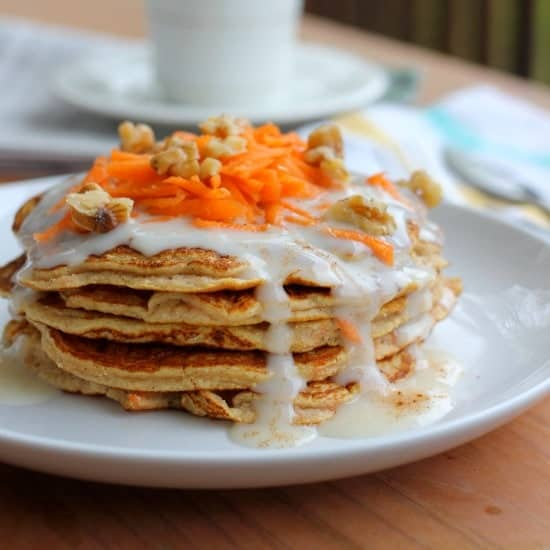 Carrot Cake Pancakes with Cream Cheese Maple Syrup - Baker Bettie