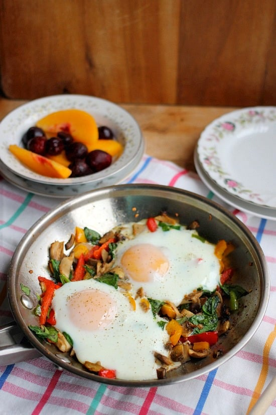 This roasted veggie breakfast skillet for one is the perfect amount when making a hearty solo breakfast or can be shared if desired! The eggs come out perfectly over easy or you can cook them longer if you prefer less runny eggs!