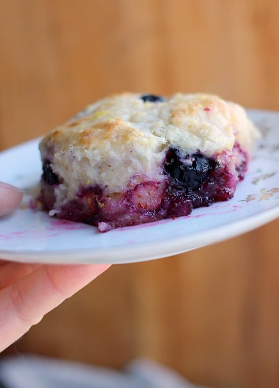 Blueberry Buttermilk Biscuits with Sweet Lemon Glaze