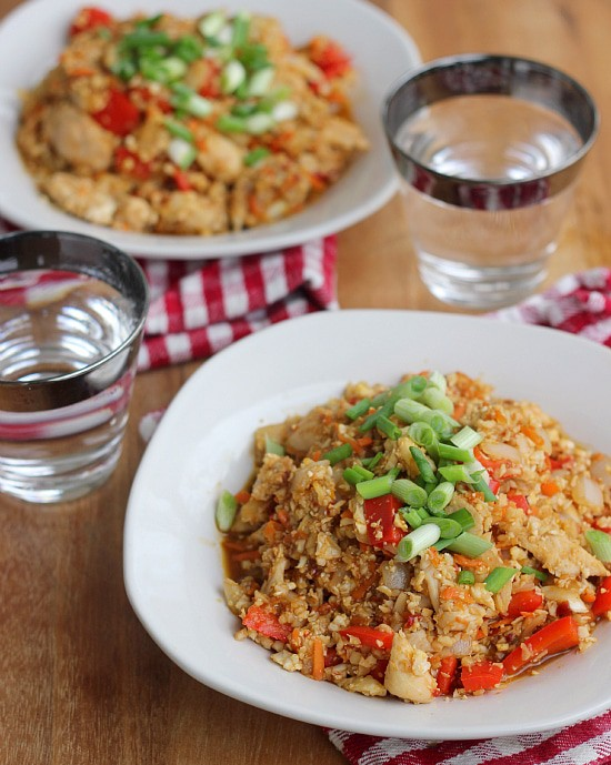 "Orange Chicken Cauliflower ""Fried Rice"""