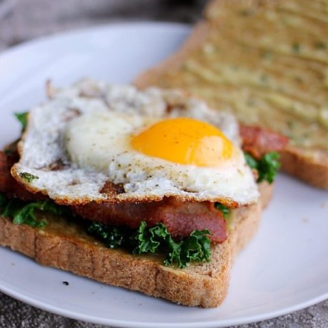 Kale Bacon and Egg Sandwich with Garlic Thyme Aioli
