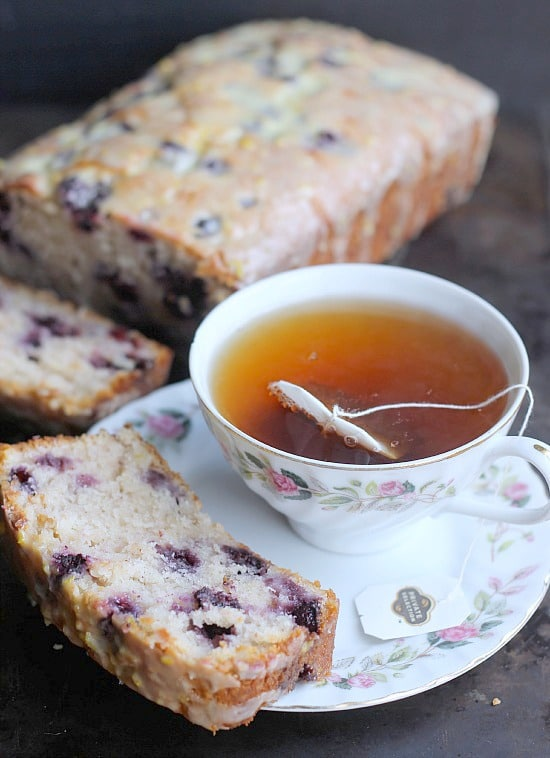 Blueberry Lemon Sour Cream Bread is a quick bread that can be in the oven in just about 10 minutes! It comes out incredibly moist and tender and is drizzled with a tart lemon glaze! A great way to get some more blueberries in before summer ends!