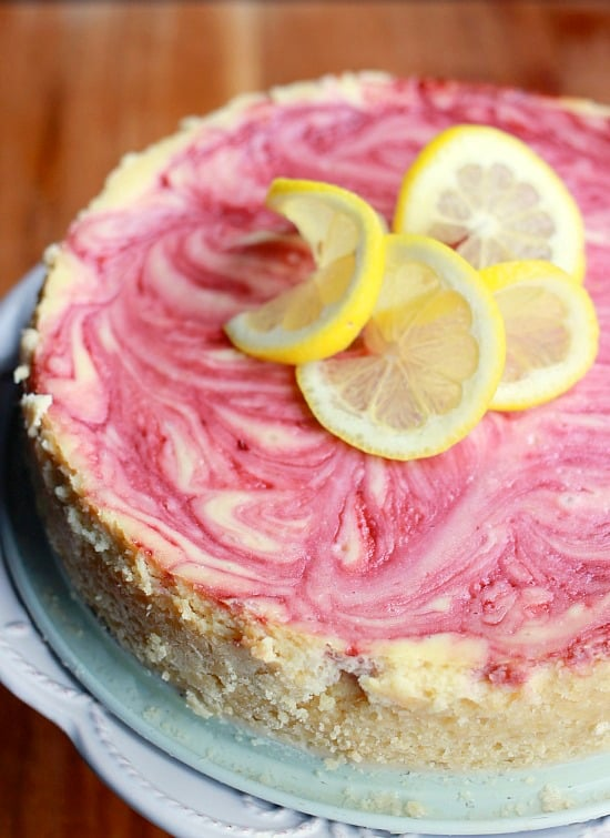 Lemon Cheesecake with Raspberry Swirl- Baker Bettie