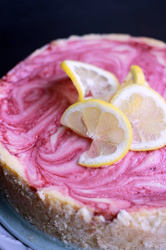 Raspberry Swirled Lemon Cheesecake