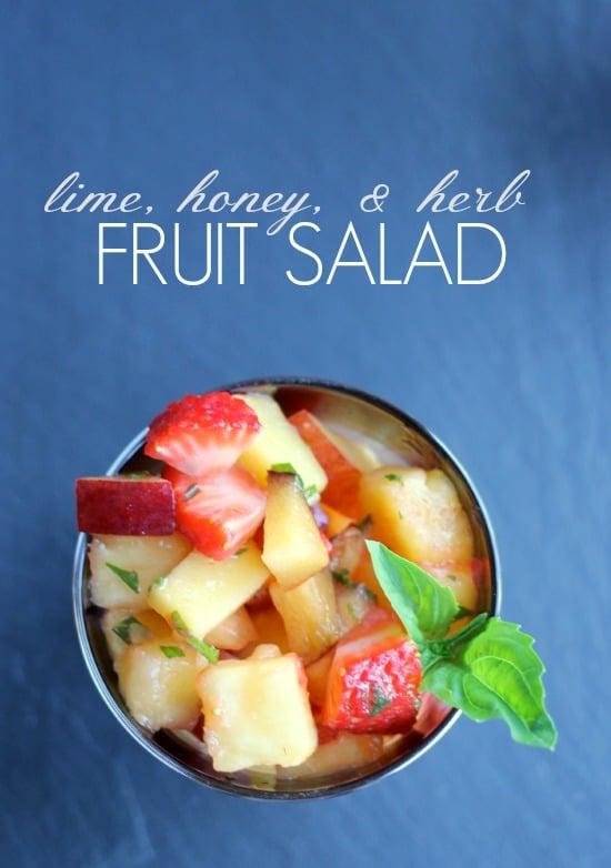 Lime, Honey, and Fresh Herb Fruit Salad