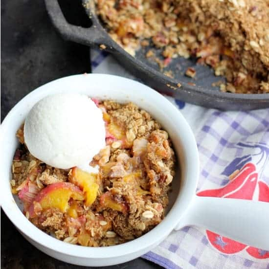Peach Rhubarb Skillet Crisp (gluten-free, vegan options)