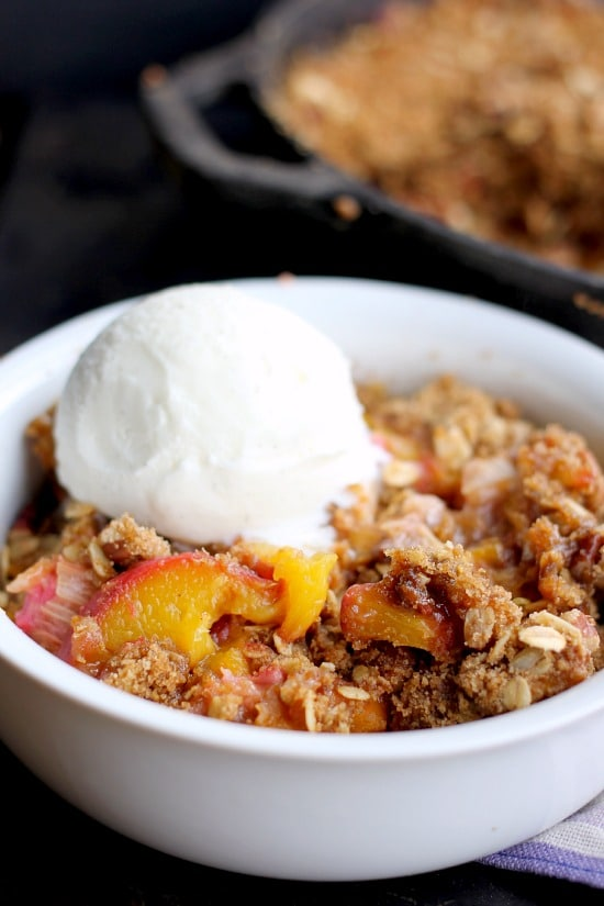 Peach Rhubarb Skillet Crisp (gluten-free option, vegan option)
