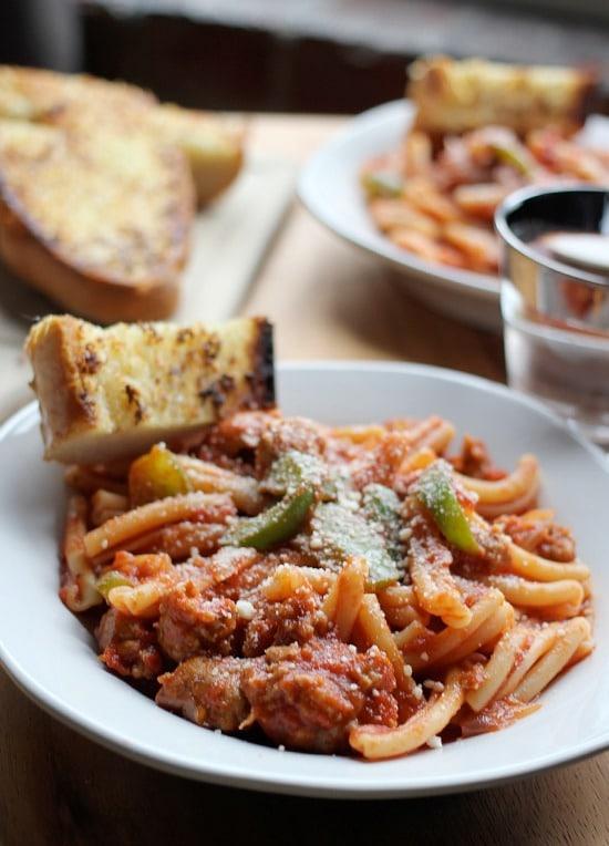 Spicy Sausage Pasta Marinara with Perfect Garlic Bread - Baker Bettie