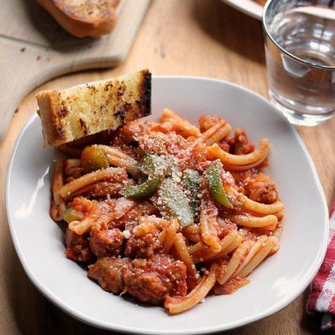 Spicy Sausage Pasta Marinara with Perfect Garlic Bread