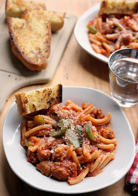 Spicy Sausage Pasta Marinara with Perfect Garlic Bread - Baker Bettie