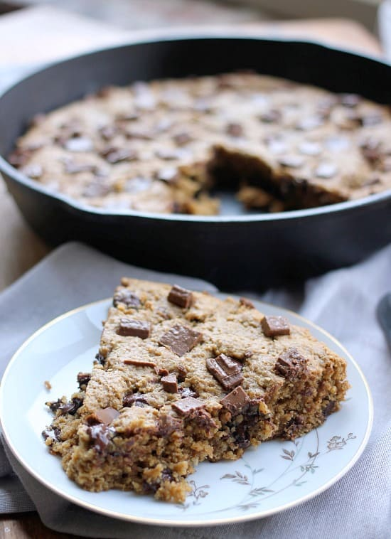Chocolate Chip Peanut Butter Skillet Cookie (gluten free, vegan)- Baker Bettie