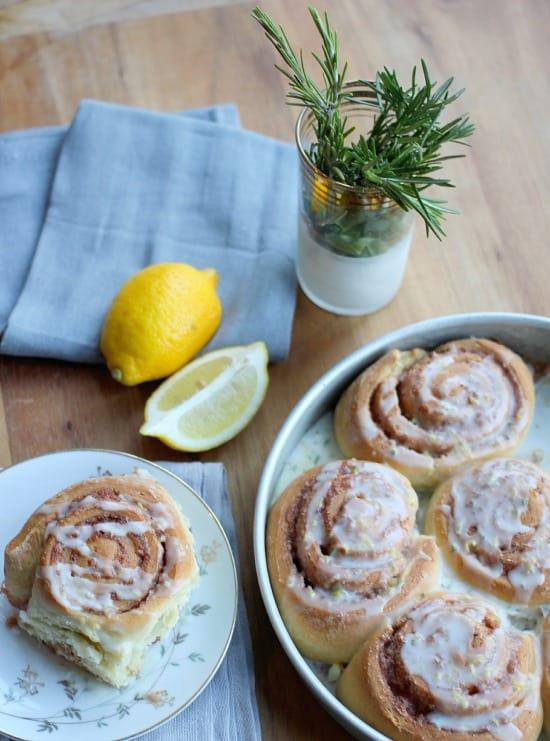 Rosemary Lemon Cinnamon Rolls- Baker Bettie