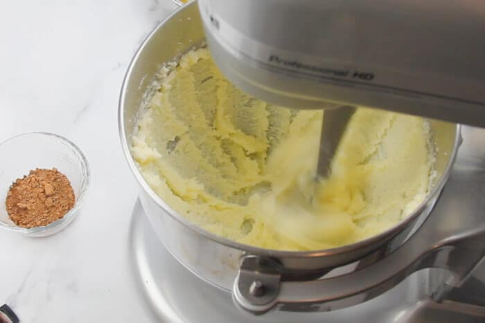 Butter and sugar being creamed for the french silk pie filling