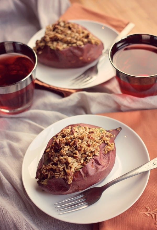 Baked Sweet Potatoes with Streusel Topping- Baker Bettie