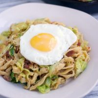 Breakfast Pasta with Brussels Sprouts, Bacon, and Fried Egg