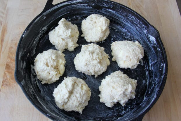 Raw drop biscuits ready to go into the oven.