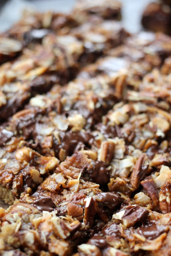 Dark Chocolate Magic Bars with Whiskey Caramel Sauce- Baker Bettie
