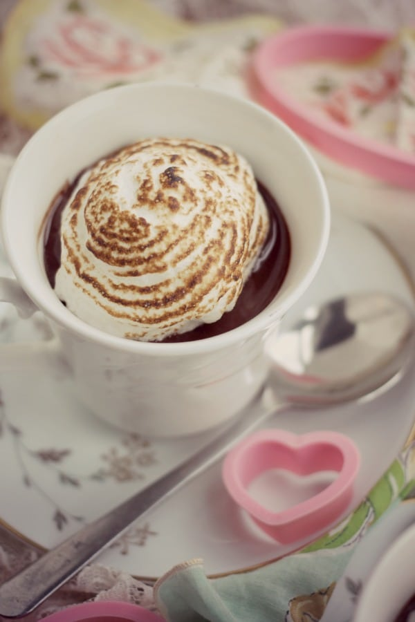 Easy Dark Chocolate Custard with Simple Meringue- Baker Bettie