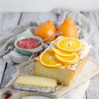 Tangerine Ricotta Pound Cake with Rhubard Compote