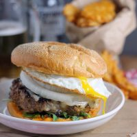 Chorizo Burger with Fried Eggs and Sriracha Mayo