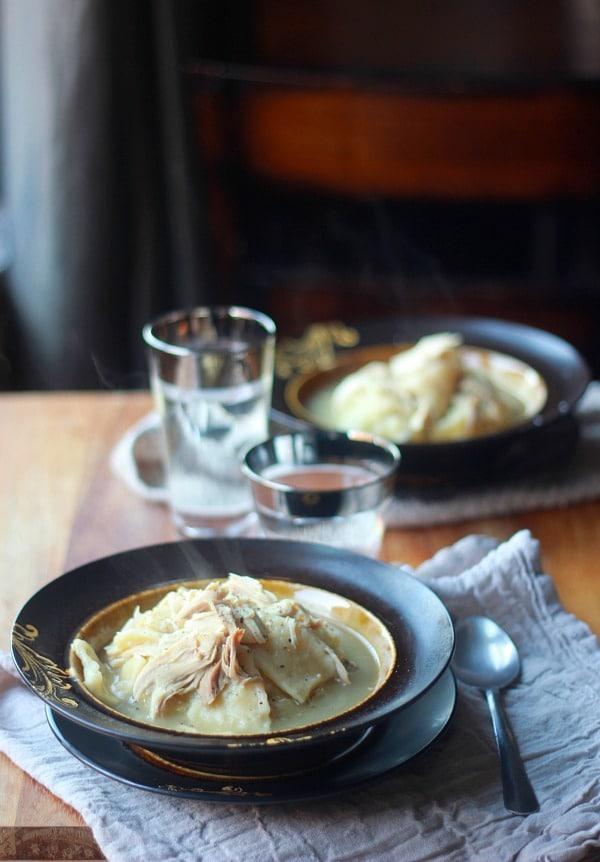 Homemade Chicken and Flat Dumplings Recipe- Baker Bettie