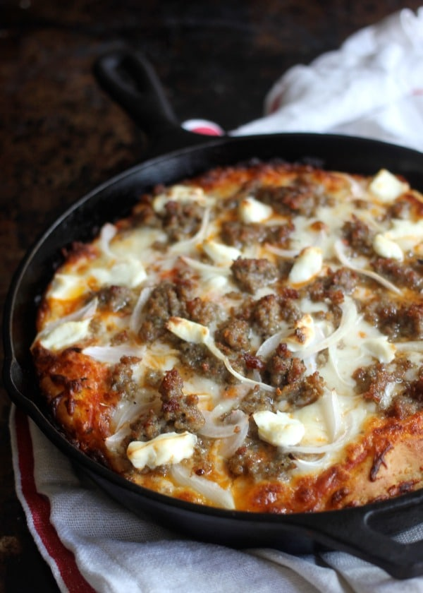 Baked pan pizza in the skillet