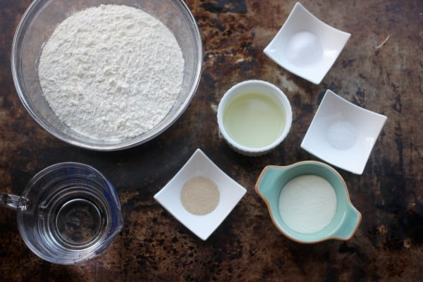ingredients for the dough of pan pizza
