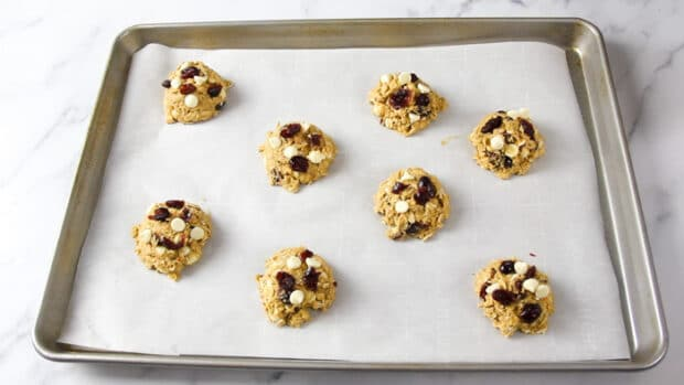 White chocolate cranberry oatmeal cookies ready to bake