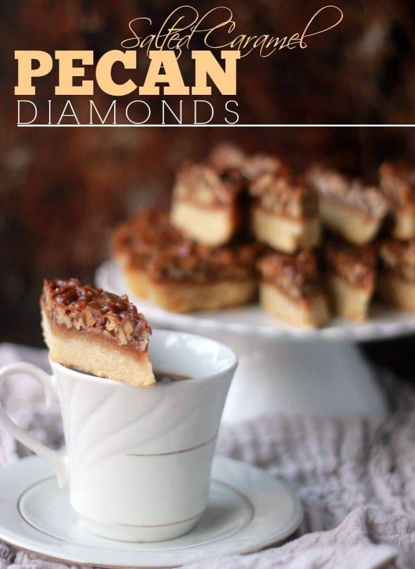 Salted Caramel Pecan Shortbread Diamonds- Baker Bettie