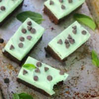 Fudgy Brownies with White Chocolate Mint Mousse