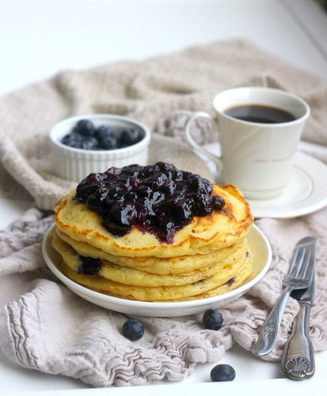 "These fluffy blueberry buttermilk pancakes really live up to the ""cake ..."