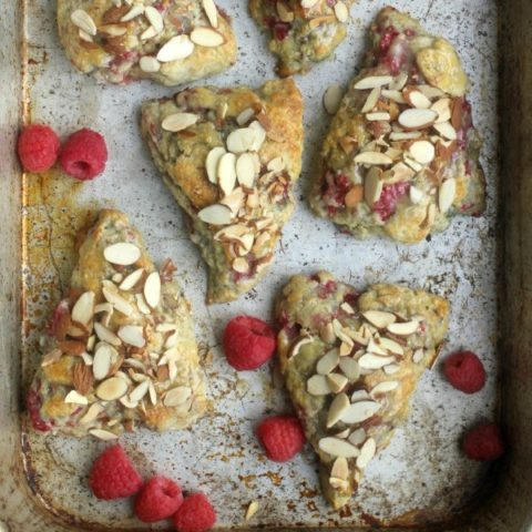 Raspberry Scones with Toasted Almonds and Buttermilk Glaze
