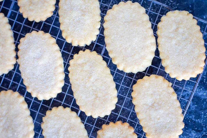 Baked shortbread cookies out of the oven