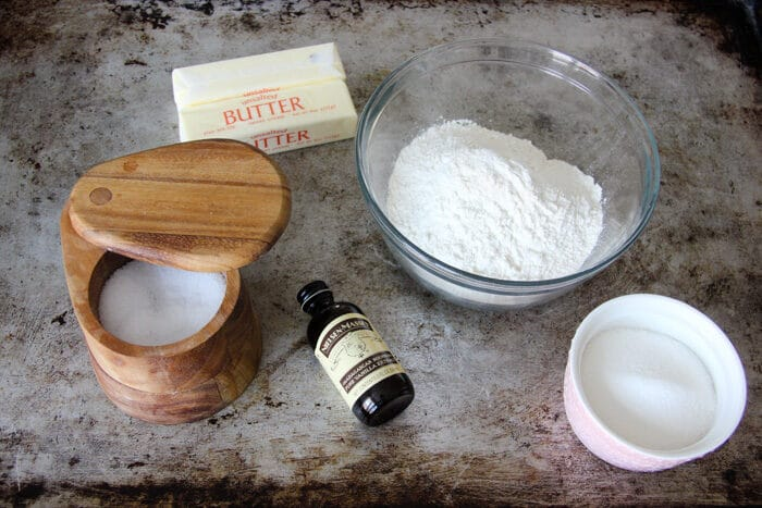 Ingredients for shortbread cookies- butter, sugar, flour, salt, and optional vanilla