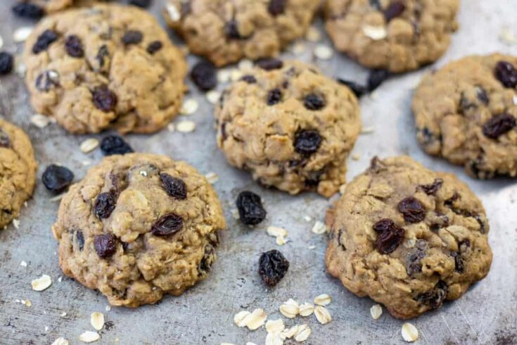 Bourbon Soaked Oatmeal Raisin Cookies