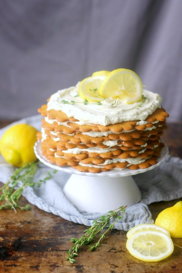 Icebox cakes are a classic retro cake that are making a comeback. Lemon, thyme, and goat cheese icebox cake is an updated version of the retro classic. Thin cookies are layered with a creamy goat cheese filling that has touches of honey, lemon, and fresh thyme!