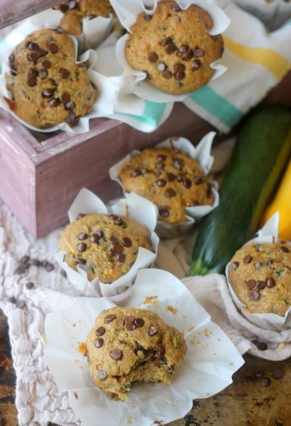 Whole Wheat Summer Squash Chocolate Chip Muffins | Baker ...