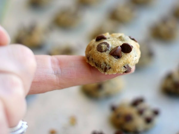 One bite chocolate chip cookies are the most perfect tiny soft chocolate chip cookie for eating by the handful or drenching in milk and eating with a spoon, kind of like homemade cookie cereal!