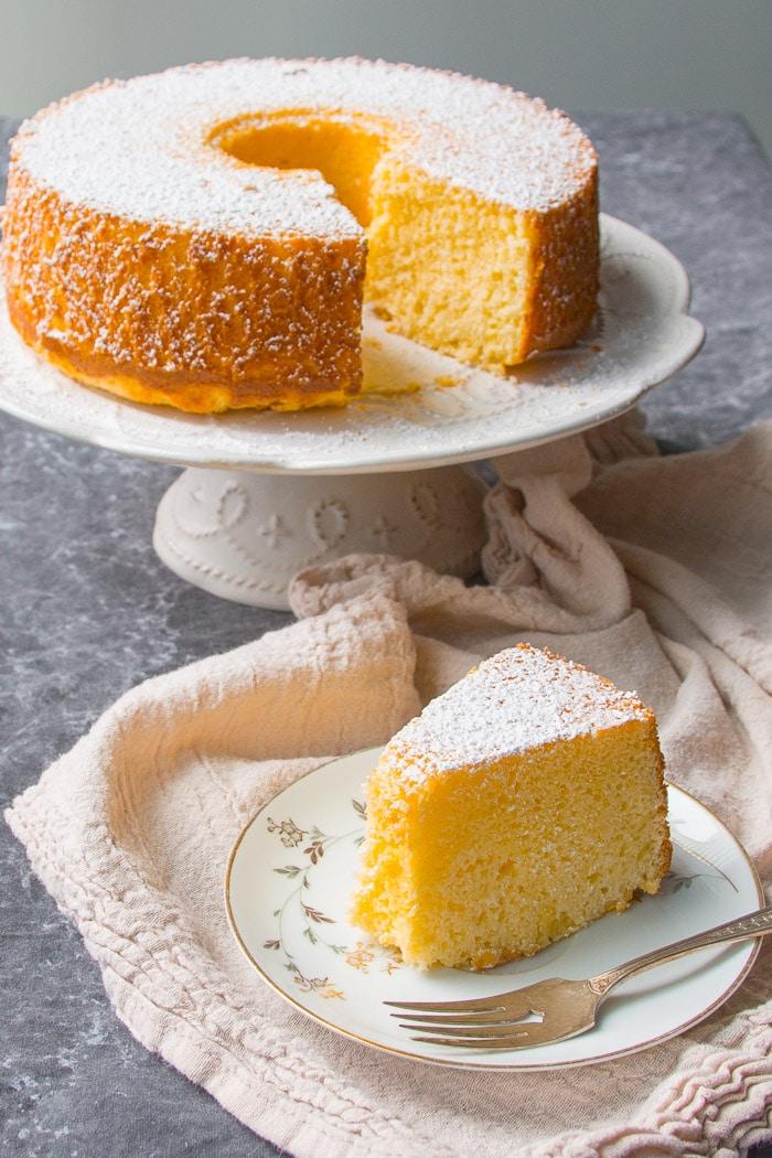 Piece of plain fluffy chiffon cake